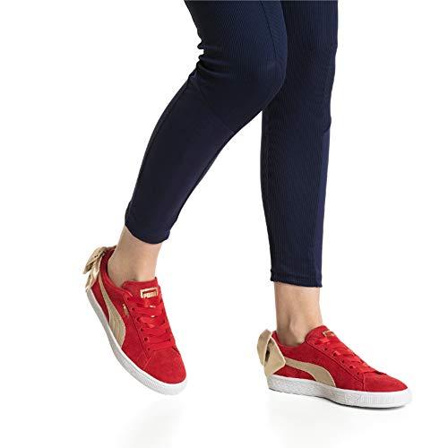 Bsqt Gold Puma Ribbon Suede Red W metallic Chaussures Bow Sq8qwE