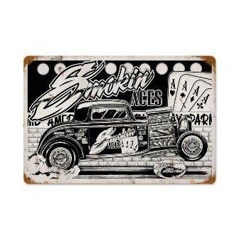 Past Time Signs SLP011 Smokin Aces Automotive Vintage Metal Sign