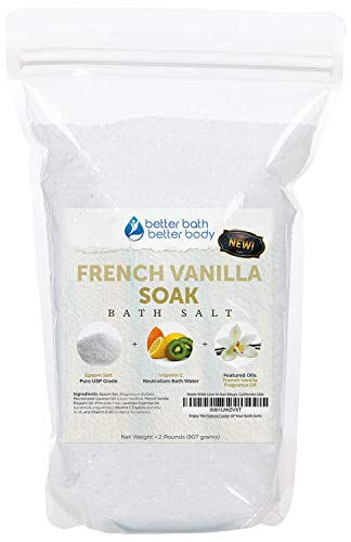 NEW French Vanilla Bath Salt 32oz (2-Lbs) Epsom Salt With French Vanilla Fragrant Oil and Lavender Essential Oil PLUS Vitamin C Crystals - Enjoy The Soothing Aromas Of French Vanilla In Your Bath