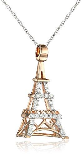 "10k Gold Diamond Eiffel Tower Pendant Necklace (1/10 cttw, H-I Color, I2-I3 Clarity), 18"""