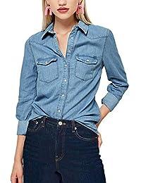 Light Blue Loose Shirt Long-Sleeved Tops Fashion Casual Button Cotton Denim Blouse 5005-1