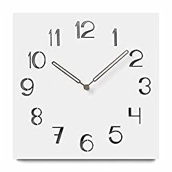 FlorLife Wooden Wall Clock Design,12 inch Square Quartz Silent Non Ticking Decorative Clock with Arabic Numbers Battery Operated, Easy to Read Home Office School Clock