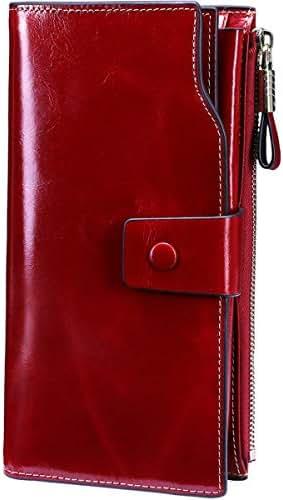 Itslife Women's Wallet RFID Blocking Large Capacity Luxury Wax Genuine Leather Wallet Card Holder Clutch Organizer Ladies Purse