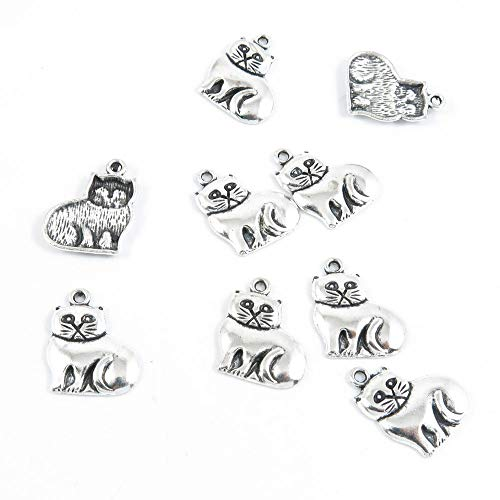(Qty 20 Pieces Antique Silver Tone Jewelry Making Supply Charms Findings U3RN2 Fat Cat Kitten)
