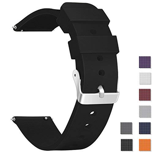 Vetoo Watch Band, Quick Release Silicone Watch Bands, Choose Color and Width 18mm, 20mm, 22mm, Rubber Replacement Band for Traditional & Smart Watch (Dakota Watch Bands)