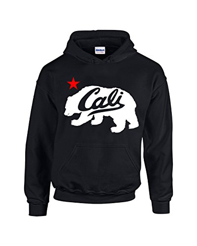 Camalen White Cali Bear Design Popular California Unisex Pullover Hoodie Hooded Sweatshirt(Black,Small)