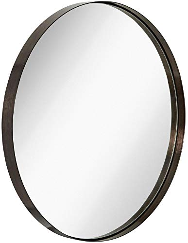 Hamilton Hills Contemporary Brushed Metal Black Wall Mirror | Glass Panel Black Framed Rounded Circle Deep Set Design (30