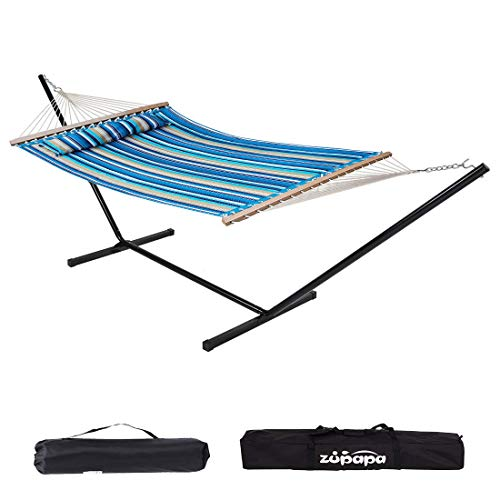 Zupapa 12 Feet Steel Stand with Rope Spreader Bars Hammock Combo 450lbs Capacity, Quilted Polyester Pad and Pillow for Indoor Outdoor Patio Deck Yard 2 Storage Bags Included