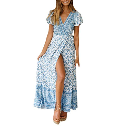Women Dresses Summer Bohemian Floral Printed Wrap V Neck Short Sleeve Split Beach Party Maxi Dress with Belts Sky Blue
