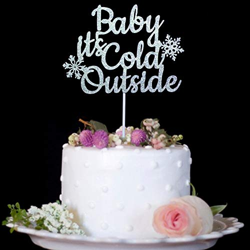 - Baby It's Cold Outside with Snowflake Cake Topper - Winter Christmas Holiday Boy or Girl Baby Shower Party Decorations Silver Glitter