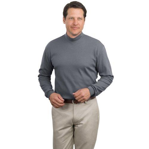 Mens Interlock Turtleneck Cotton (Port Authority Interlock Mock Turtleneck, Steel Gray XL)