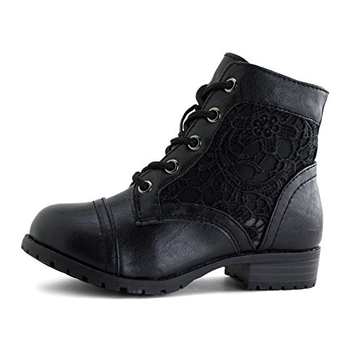 Girls Lace Up Flower Embroider Military Ankle Boots (Little Kid) - stylishcombatboots.com
