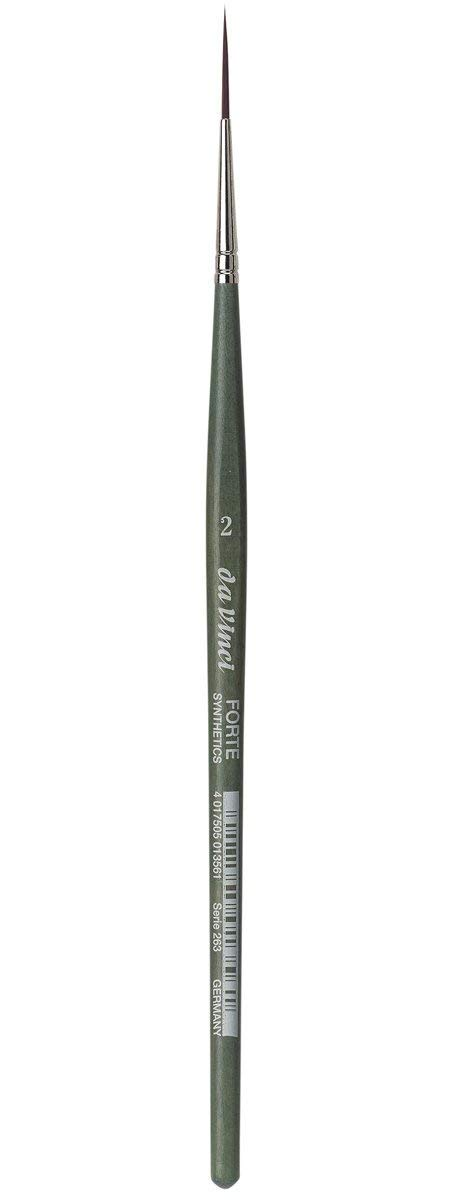 da Vinci Modeling Series 263 Forte Gaming and Craft Brush, Pointed Liner/Rigger Extra-Strong Synthetic with Blue-Green Handle, Size 2