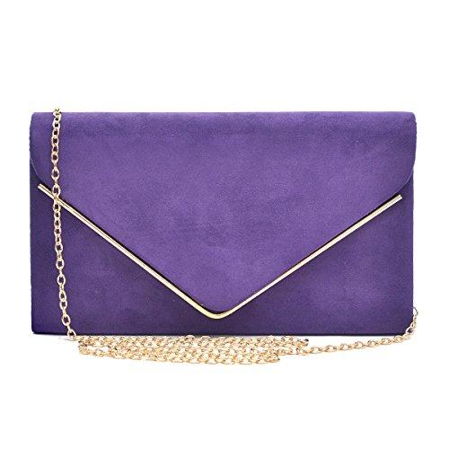 Womens Envelope Flap Clutch Handbag Evening Bag Purse Velvet Suede Party Purple