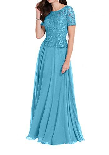Blau Spitze Chiffon Damen Kurzarm Abendkleider Brautmutterkleider Charmant mit Partykleider Bodenlang Royal Blau awPzgPxq1
