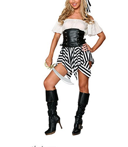 [Parasexy Classical Ruffled Strapless Waisted Lady Halloween Pirate Costume White US XXS-M(Asian] (Halloween Costumes For Asian Women)