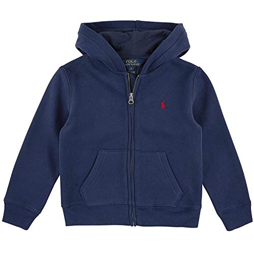 Ralph Lauren Polo Boys Full Zip Hoodie, French Navy, 7 (Navy Blue Polo Hoodie)