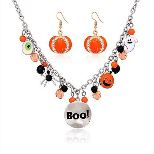 Halloween Ghost Necklace Crystal Beaded Boo Pumpkin Pendant Choker Necklace with Pumpkin Drop Earrings Jewelry -