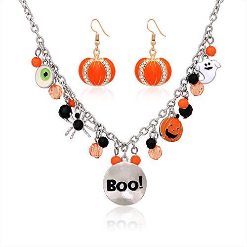 (Halloween Ghost Necklace Crystal Beaded Boo Pumpkin Pendant Choker Necklace with Pumpkin Drop Earrings Jewelry)