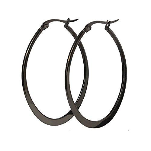 UM Jewelry Womens Stainless Steel Large Hoop Earrings Black