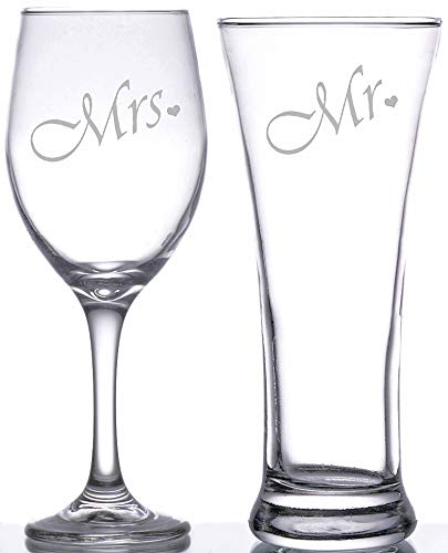 Mr. and Mrs. Pilsner Glass and Wine Glass Gift Set, Great Gift for Wedding, Anniversary, Couple's Gift, Engagements, Bridal Shower, His and Hers, Novelty glasses, Toasting glasses, Wedding ()