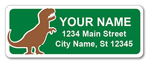 Personalized Return Address Labels - T-Rex Dinosaur Design - 120 Custom Gift Stickers