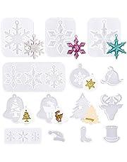 WANDIC 14 stks Kerst Patroon Epoxy Hars Mallen Siliconen Handgemaakte Sieraden Mallen voor Craft DIY Kerstboom Sneeuwvlok Vaste Kerstman Hoed Maken