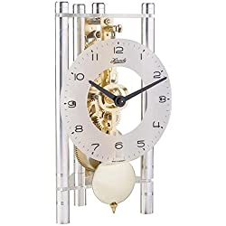 Hermle 23022X40721 Lakin Triangular Table Clock - Silver with Glass Dial & Brass Pendulum