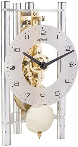 Lakin Triangular Table Clock - Silver with Glass Dial & Brass Pendulum - Hermle 23022X40721