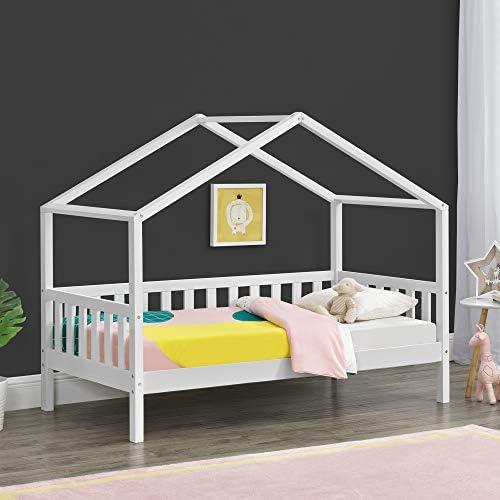 Cama para niños Cama Infantil Elevada 160x80cm Estructura Casa de Madera Pino con Reja Blanco: Amazon.es: Hogar