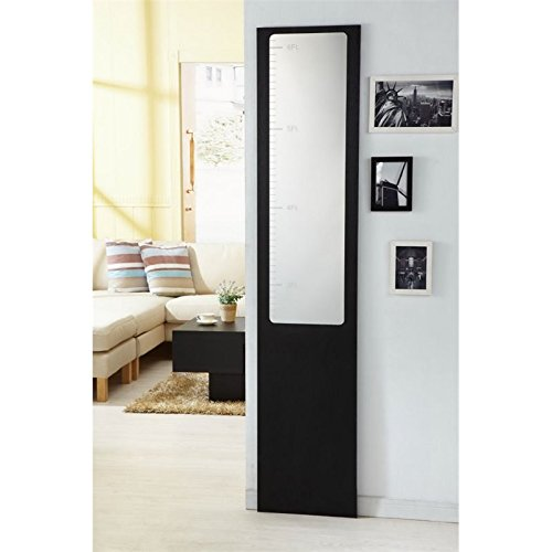 Furniture of America Sion Height Measuring Wall Mirror in Black