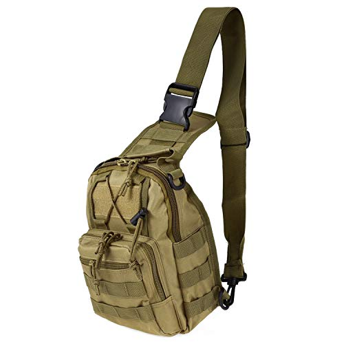 BE-MY-GUEST Outdoor Shoulder Military Backpack Camping Travel Hiking Trekking Bag 9 Colors,Khaki ()