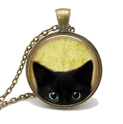 [Mr Rabbit Fashion Explosion Retro Black Cat Glass Time Gemstone Necklaces] (Fantasy Life Angel Costume)
