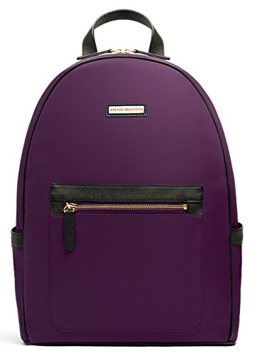 "Archer Brighton Cara Laptop Backpack, Women's 13"" Business Travel Leather Canvas Multipurpose Backpack (Mulberry Purple) by Archer Brighton"