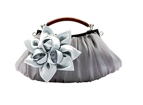 Flower Handheld Clutch Satin Wedding Bridal Handle Bag Party Handbag Silver Satin