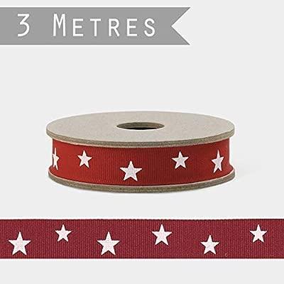 East of India - Cinta roja con Estrellas Blancas x 3 m para ...