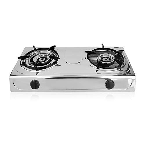 - Simoner Portable Propane Gas Stove Double Burner Stove, Household Stainless Steel Furnace Durable Advanced Camping Cooker