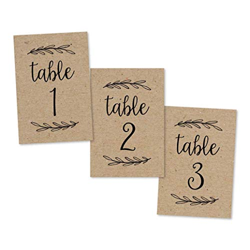 1-25 Rustic Kraft Table Number Double Sided Signs For Wedding Reception, Restaurant, Birthday Party Event Calligraphy Printed Numbered Card Centerpiece Decoration Setting Reusable Frame Stand 4x6 Size (1 Christmas Number)