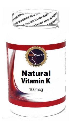 Natural Vitamin K 100mcg 200 Capsules # BioPower Nutrition
