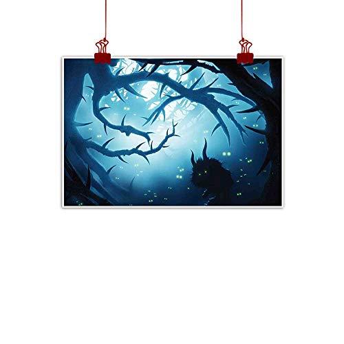 warmfamily Decorative Art Print Mystic Decor,Animal with Burning Eyes in Dark Forest at Night Horror Halloween Illustration,Navy White 48