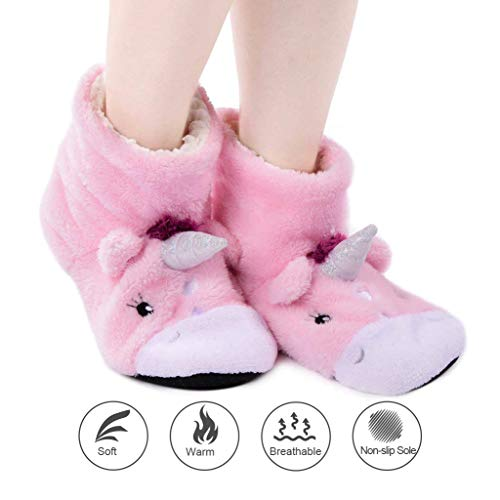 Slipper Pink Sock Fuzzy Booties with Panda Cozy Unicorn Slip for Grippers Bros Slippers Indoor Socks Women Lined Non Warm AqCnfTxzw