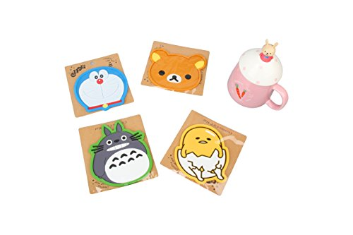 Set of 4 - Super Cute Kawaii Silicone Cartoon Cup Coasters Mats 5-inch (Assorted) (Japanese Cartoon)