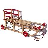 Roll Rodel Original Holzschlitten mit Rädern zum Einsatz auf Teer und Schnee - Schlitten mit Rollen, roter Kunststofflehne und Zugseil (Davoser Schlitten 110cm) - Kinderfahrzeug - Babyschlitten