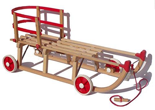 Orig. Roll Rodel - der Holzschlitten mit Rädern zum Einsatz auf Teer und Schnee - Schlitten mit roter Kunststofflehne (Davoser Rodel 110cm)