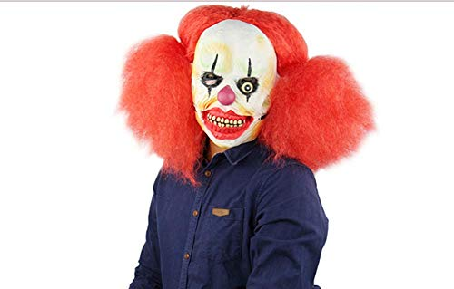 Creepy Scary Halloween Clown Cosplay Costume Decoration Latex Mask Evil Spirit for Adults Party Decoration Props (Red -