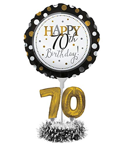 Creative Converting Happy 70th Birthday Balloon Centerpiece Black and Gold for Milestone Birthday - 317309
