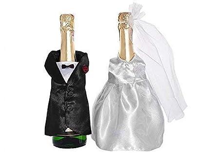 Partydeco - Fundas para copas de champán, diseño de pareja de novios