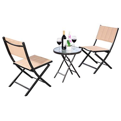 3PCS Patio Folding Table Chairs Furniture Set Bistro Garden Steel Textilene by Apontus