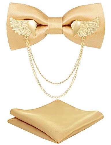 RBOCOTT Gold Bow Tie Metal Golden Wing Silk Bowties for Men (4) (Gold Bow Tie)
