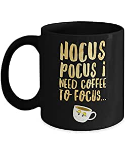 Halloween Mug: Hocus Pocus I Need Coffee To Focus - Black 11oz Ceramic Novelty Hocus Pocus Focus Gift Mug For Halloween Theme